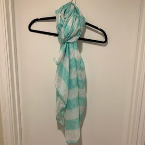 Mint and White Striped Scarf